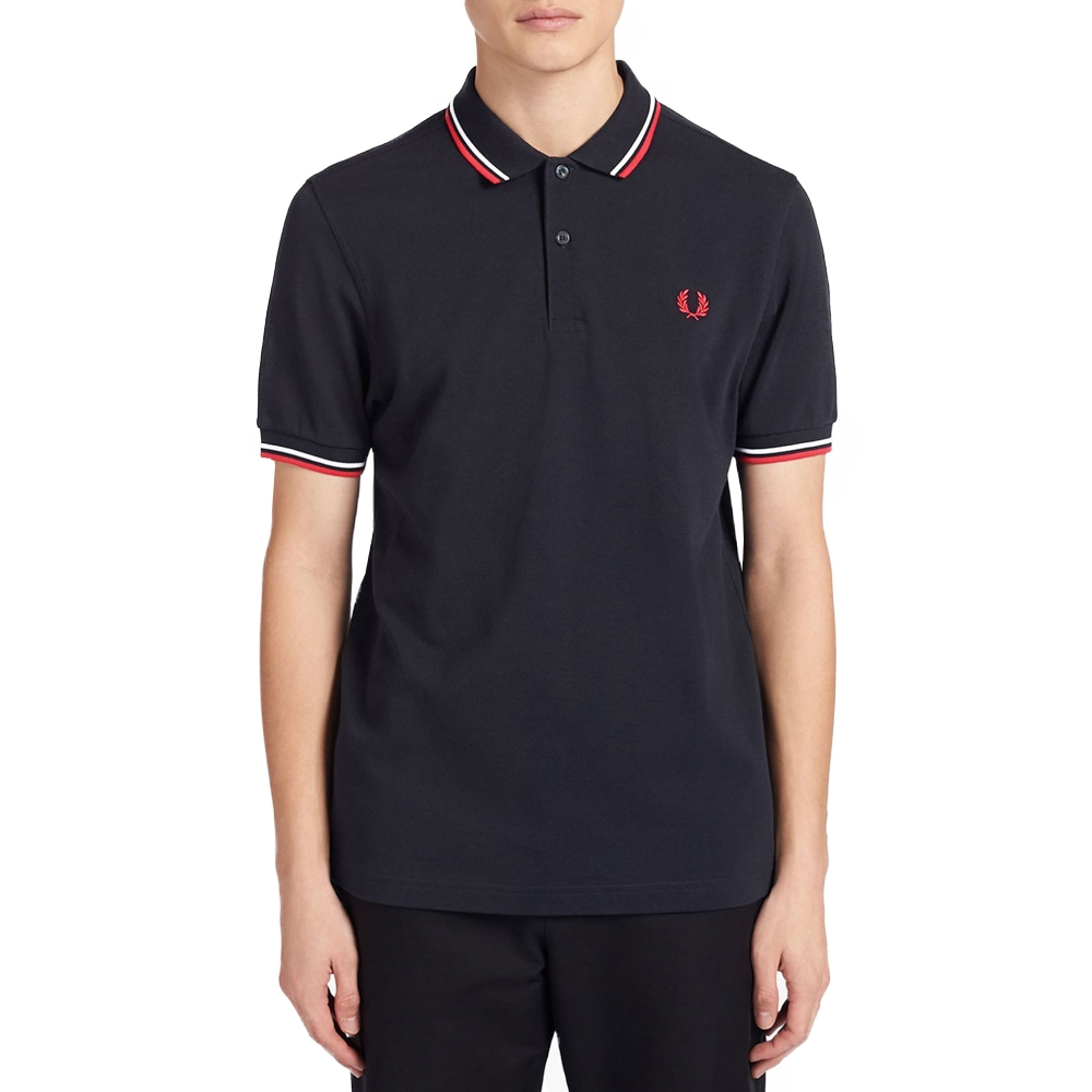 FRED PERRY POLO TWIN TIPPED LAKE NAVY WHIT (TXH) c75fac412f4