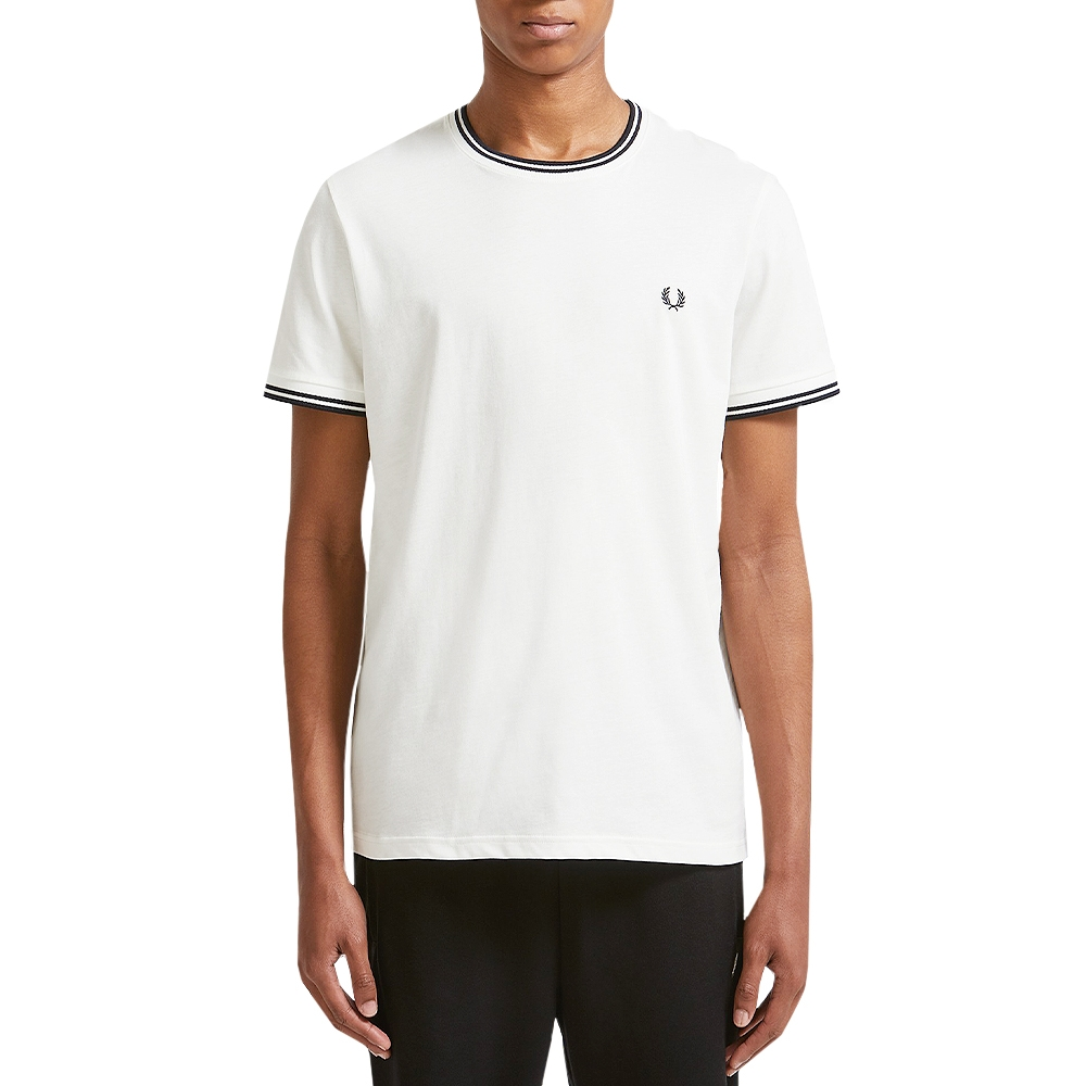 FRED PERRY T`SHIRT TWIN TIPPED SNOW WHITE (TXH) 692cbbd8ab5